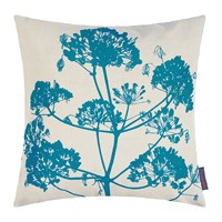 Clarissa Hulse Angelica Cushion 55X55cm Natural Linen Dark Kingfisher