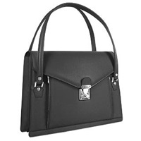 L.A.P.A. Double Compartment Calf Leather Women's Briefcase Black