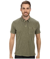 Lucky Brand Malibu Military Polo Four Leaf Clover Men's Short Sleeve Pullover Green