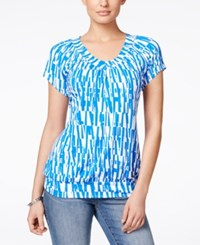 Jm Collection Short Sleeve Blouse Abstract Print Blue