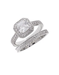 Michela Two Piece Pave Accented Solitaire Ring And Band Set Silver