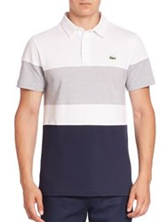 Lacoste Ultra Dry Colorblock Polo Shirt White Navy Blue Silver Grey Chine Navy Blue France
