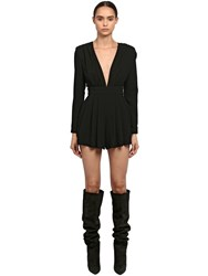 Saint Laurent V Neckline Sable Jumpsuit Black