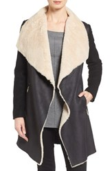 Calvin Klein Women's Mixed Media Coat With Faux Shearling Front