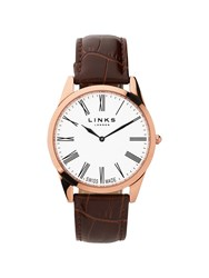 Links Of London Noble Mens Slim Brown Leather Watch Brown