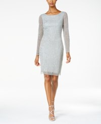 Adrianna Papell Beaded Long Sleeve Sheath Dress Blue Mist