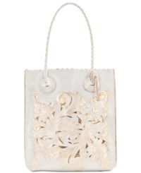Patricia Nash Burnished Tooled Cavo Medium Tote White Gold