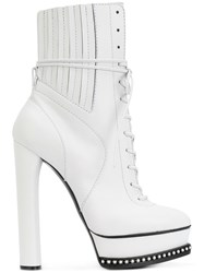 Casadei City Rock Platform Ankle Boots Women Calf Leather Leather Nappa Leather 37 White