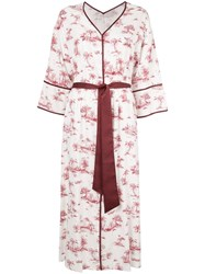 Loveless Palm Print Kimono Dress White