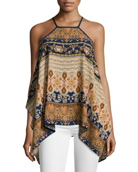 Romeo And Juliet Couture Paisley Chiffon Tank Navy Peach