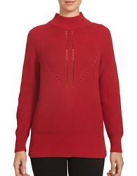1.State Long Sleeve Mock Neck Cotton Blend Sweater Wild Crimson