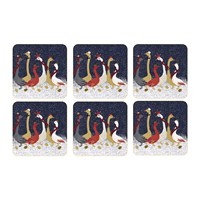 Sara Miller Christmas Geese Coasters Set Of 6