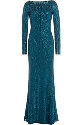 Jenny Packham Bead Embellished Floor Length Gown Turquoise