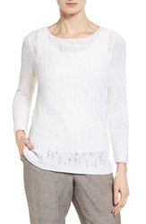 Nic Zoe Women's Sheer Dusk Cotton Blend Layering Sweater Paper White