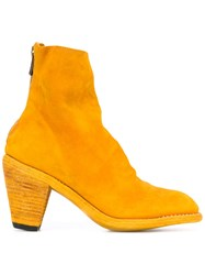 Guidi Rear Zip Ankle Boots Women Leather Suede 37.5 Yellow Orange