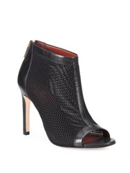 Cole Haan Adella Mesh And Leather Peep Toe Booties Black