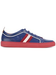 Bally Stripe Panel Lace Up Sneakers Men Cotton Calf Leather Leather Rubber 10 Blue