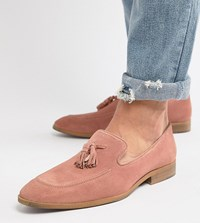 Asos Design Wide Fit Loafers In Pink Suede With Natural Sole