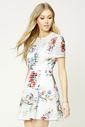 Forever 21 Floral Fit And Flare Dress Ivory Pink