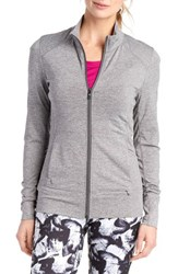 Lole Women's Essential Zip Cardigan Volcanic Glass Heather