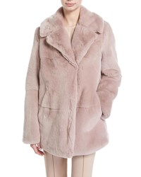 A.L.C. Stone Notched Collar Long Sleeve Rabbit Fur Coat Pink