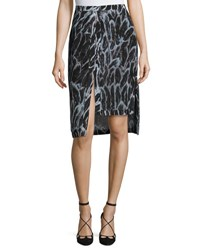 Halston Tiered Hem Feather Print Skirt Blue Pattern