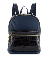 Elizabeth And James Cynnie Crocodile Embossed Leather Backpack Navy Black
