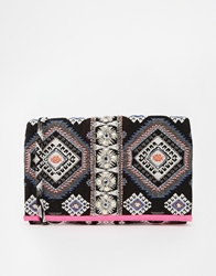 Pieces Oversized Clutch In Aztec Print With Beaded Detail Multi