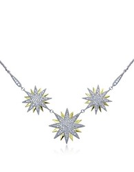 Lord And Taylor Two Tone Cubic Zirconia Sterling Silver Starburst Necklace