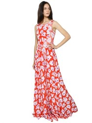 Nina Ricci Rose Printed Silk Crepe De Chine Dress