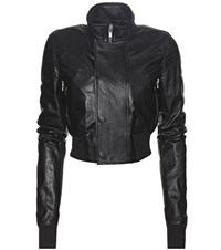 Rick Owens Cropped Leather Bomber Jacket Black