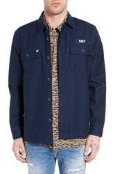 Obey Men's Mission Military Shirt Jacket Navy