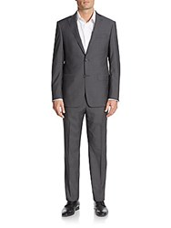 Michael Kors Regular Fit Tonal Plaid Wool Suit Charcoal