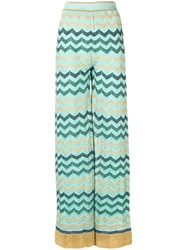 M Missoni Wide Leg Knitted Trousers Blue
