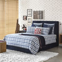 Tommy Hilfiger Check Trim Duvet Cover White Blue