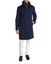 Loro Piana Icer Cashmere Coat With Fur Trimmed Collar Blue