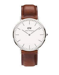 Daniel Wellington Classy St. Mawes Leather Strap Watch Brown