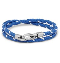 Tod's Woven Leather Bracelet Blue