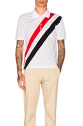 Thom Browne Diagonal Stripes Polo In Blue Red Stripes White Blue Red Stripes White