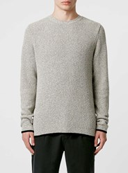 Topman Off White Tipped Crew Neck Jumper Cream