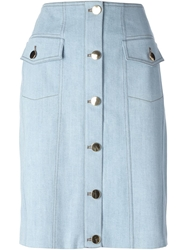 Moschino Denim Button Up Skirt Blue