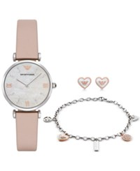 Emporio Armani Women's Gianni Nude Leather Strap Watch Bracelet And Earrings Gift Set 32Mm Ar8039
