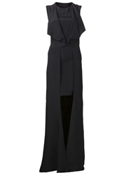 Jean Pierre Braganza Jean Pierre Braganza Draped Lapel Dress Black