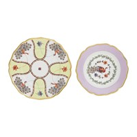 Bitossi Dinner Plate And Soup Plate Set Pavone Rose