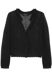 Simone Rocha Embellished Open Knit Mohair Blend Cardigan Black