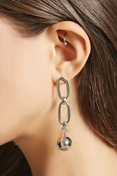 Forever 21 Chain Link Bauble Earrings Silver
