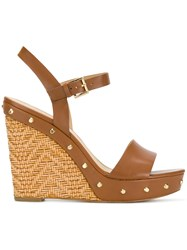 Michael Michael Kors Jill Studded Wedge Sandals Brown