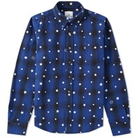 Uniform Experiment Star Print Ombre Check Shirt Blue