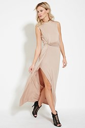 Forever 21 Knotted Side Maxi Dress Beige