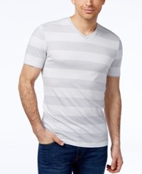 Alfani Men's Striped Slim Fit V Neck T Shirt Only At Macy's Bright White